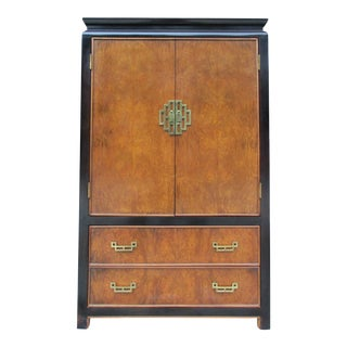 Century Furniture Chin Hua Burlwood and Black Lacquer Armoire or Gentleman's Chest For Sale