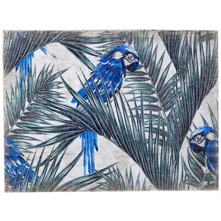 "Hand Painted French Panel "" Blue Parrot"""