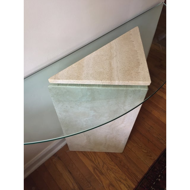 Ello 1980s Postmodern Geometric Travertine and Glass Console Table For Sale - Image 4 of 11