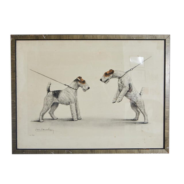 Hand Colored Print of Two Dogs For Sale