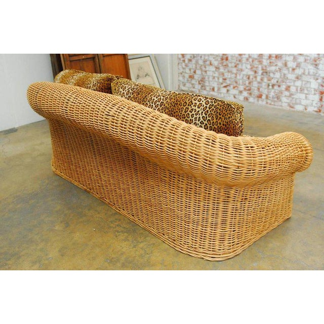 Michael Taylor Inspired Wicker Sofa Scalamandre Style Leopard Upholstery For Sale - Image 9 of 10