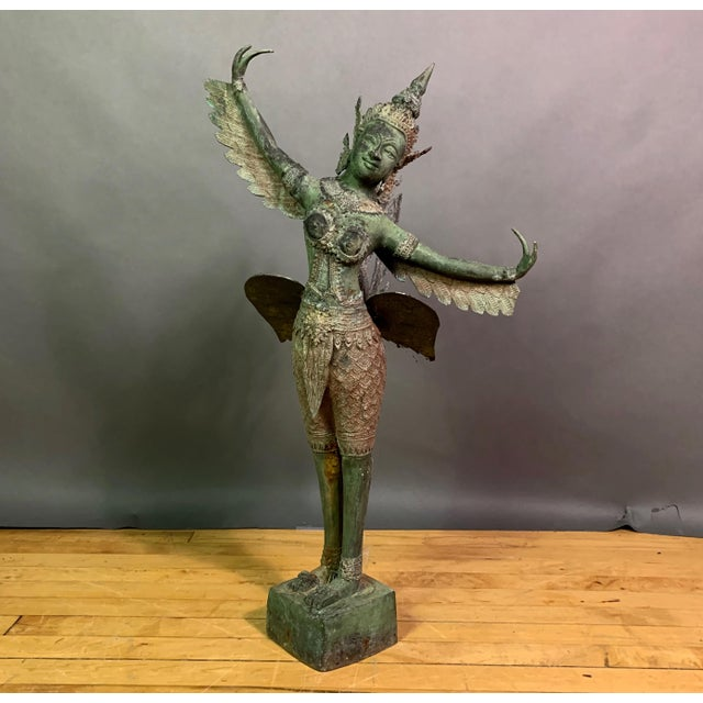 """Early 1900s Mythologic Kinnaris 30"""" Bronze Statue, Thailand For Sale - Image 12 of 12"""