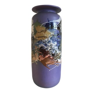 1990s Mid-Century Modern Purple Studio Ceramic Vase