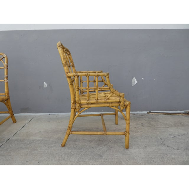 Classic Chinese Chippendale Rattan Dining Room Table Base with 6 Pagoda Top Dining Chairs For Sale - Image 10 of 13
