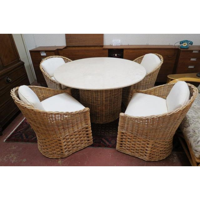 Cream Vintage Boho Chic. Wicker Dining Set With Marble Top - 5 Pieces For Sale - Image 8 of 8