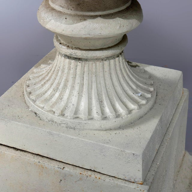Victorian Antique French Neoclassical 2-Piece Cast Iron Garden Urn, 20th Century For Sale - Image 3 of 10