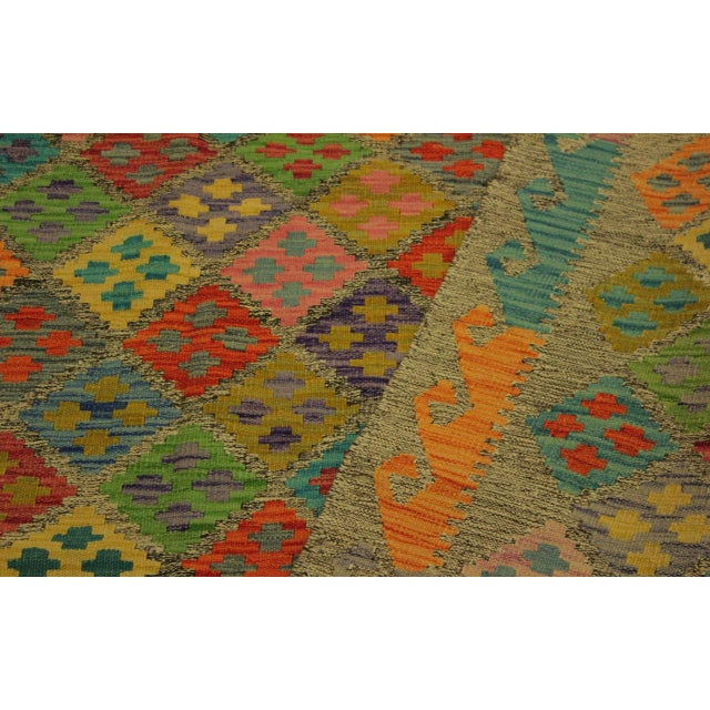 Abstract Margheri Brown/Rust Hand-Woven Kilim Wool Rug -6'3 X 7'11 For Sale In New York - Image 6 of 8