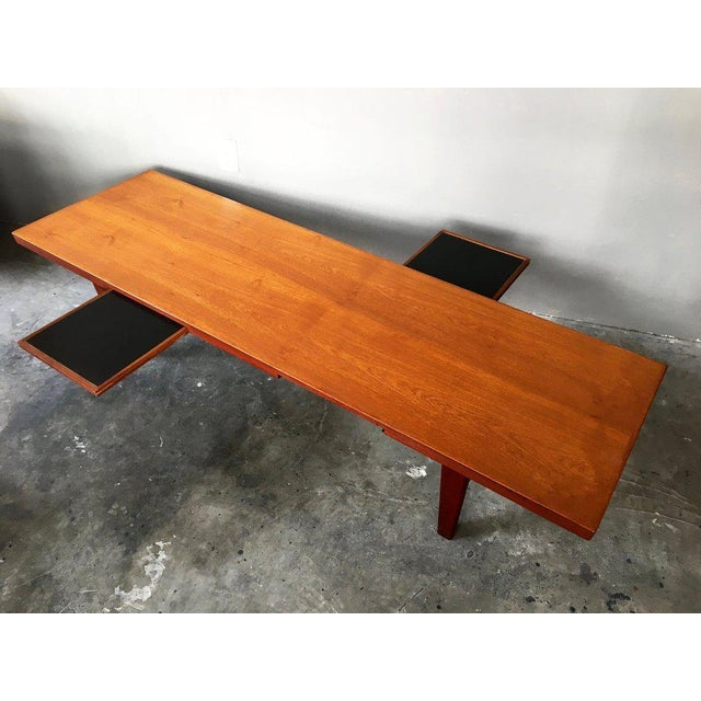 Danish Modern Coffee Table Bench W/ Slide Out Trays - Image 2 of 7