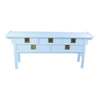Late 20th Century Vintage White Pagoda Console Table For Sale