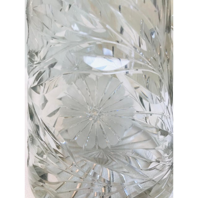 Glass Heavy Cut Glass Floral Large Pitcher For Sale - Image 7 of 10