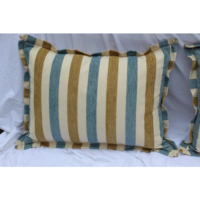 Contemporary Striped Silk DownContemporary Striped Silk Down Pillows - a Pair For Sale - Image 4 of 13