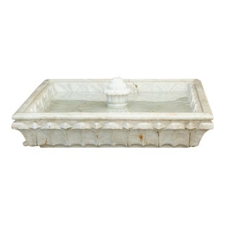 Glamorous Early 20th Century Marble Lotus Fountain For Sale