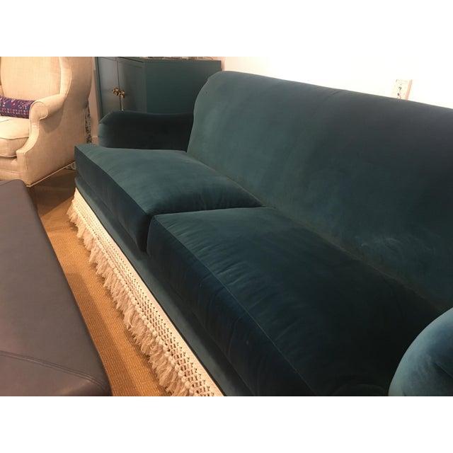 Teal Velvet And Fringe Sofa For Sale In New York - Image 6 of 6