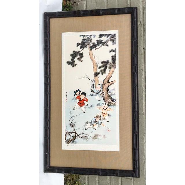 Vintage Chinoiserie Asian Children Framed Print - Image 2 of 7