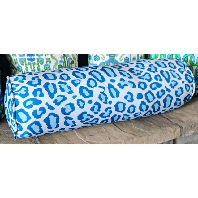 Blue Leopard Print Bolster Pillow For Sale - Image 4 of 4
