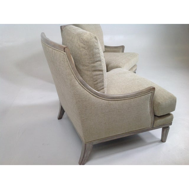 Chenille Ceruse Gray Lounge Chairs - A Pair For Sale - Image 4 of 9