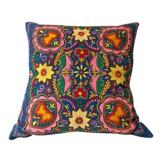 Vintage Hand Embroidered Pillow With Kantha Backing For Sale