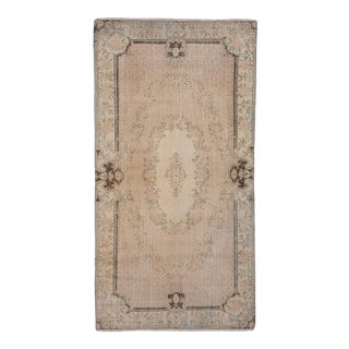 Distressed Turkish Oushak Rug With Neutral Color -3'8'' X 7'1'' For Sale
