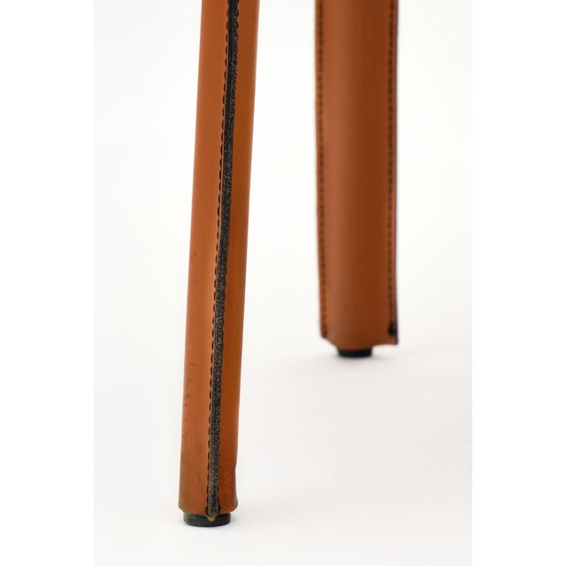 Burnt Orange Vintage Modernist Orange Leather Armchairs - a Pair For Sale - Image 8 of 10