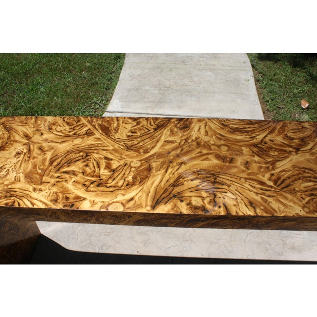Faux Tortoise Waterfall Console Table in the Style of Karl Springer For Sale In Dallas - Image 6 of 12