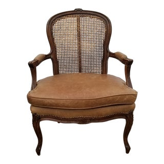 Vintage French Commodious Louis XV Style Fauteuil Caned Back Studded Soft Beige Leather Seat For Sale
