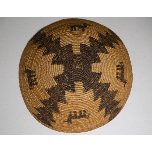 Antique Native American Apache Woven Polychrome Horses Basket Bowl For Sale - Image 9 of 10