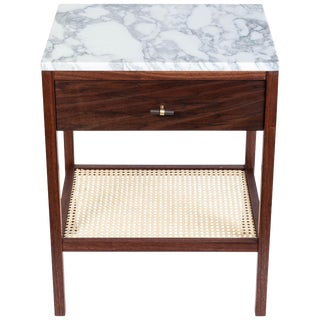 Custom Made Walnut Night Stand With a Marble Top and Caned Bottom Shelf For Sale