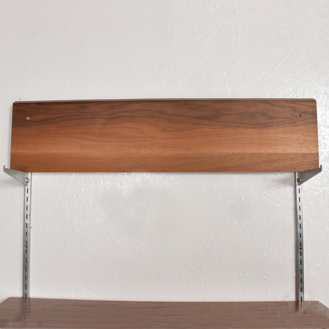Brown Mid-Century Modern Eames Era Walnut & Aluminum Bookcase Shelving Wall Unit For Sale - Image 8 of 10