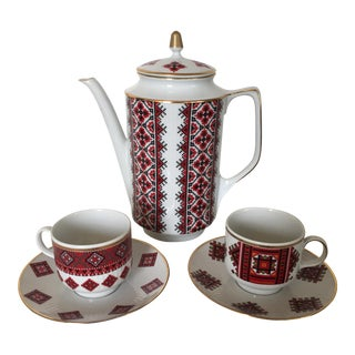 Folkloric Bavarian Porcelain Coffee Set - Set of 5 For Sale