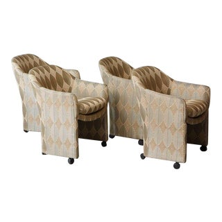 Mid Century Milo Baughman for Thayer Coggin Barrel Dining Armchairs on Casters - Set of 4 For Sale