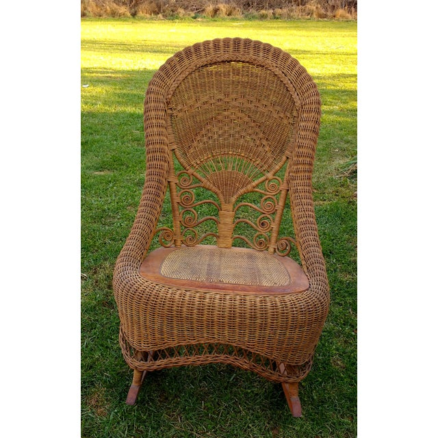Victorian Wicker Rocking Chair Nursing Rocker in Original Condition Excellent Light Color 1800s Japanese Fanback - Image 11 of 11