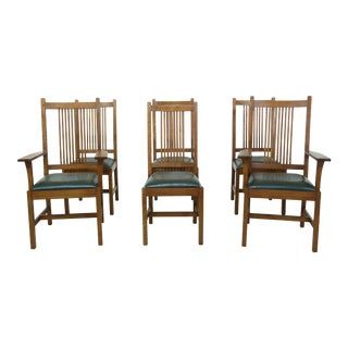 Set of 6 Stickley Mission Oak Dining Room Chairs For Sale