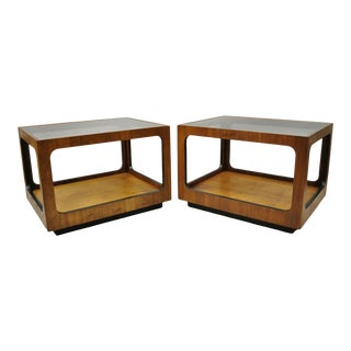 Mid Century Modern Lane Walnut Smoked Glass Modernist End Tables - a Pair For Sale