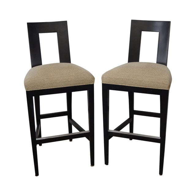 Donghia Margarita Upholstered Bar Stool Chairs- A Pair - Image 1 of 10