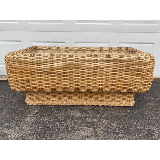 Sand Natural Woven Rattan and Glass Plinth Coffee Table For Sale - Image 8 of 8