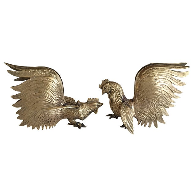 Vintage Brass Fighting Roosters - A Pair - Image 1 of 5