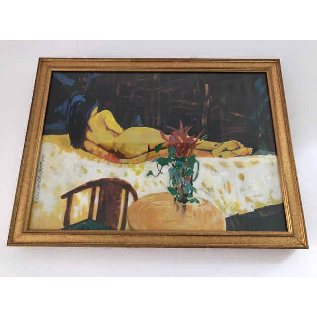 Gold Vintage Figurative Nude Watercolor Painting by J.E. Navarro, Framed For Sale - Image 8 of 9