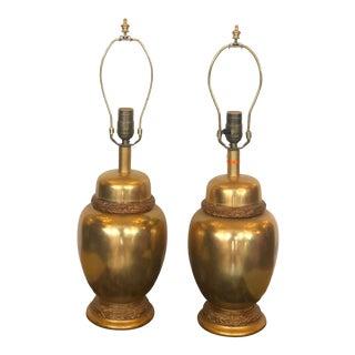 Unusual Pair of Regency Style Designer Gilt Bronze Urn Lamps W Gilt-Wood Details For Sale