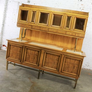 Mid Century Modern Credenza With Hutch Attributed to J. L. Metz Contempora Line Preview