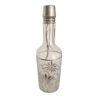 Art Nouveau Sterling Overlay Liquor Bottle For Sale