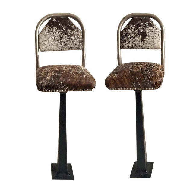 Vintage Stools - Chrome & Hide - a Pair - Image 1 of 6
