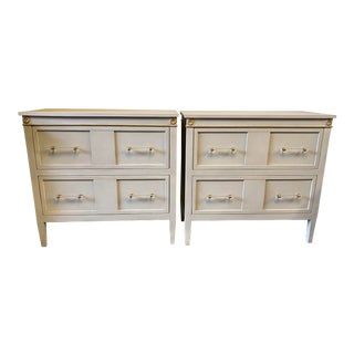 Pale Gray 2 Drawer Wood Chests - a Pair For Sale