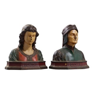 Vintage Italian Polychromed Painted Metal Bookends of Dante and Beatrice - a Pair For Sale