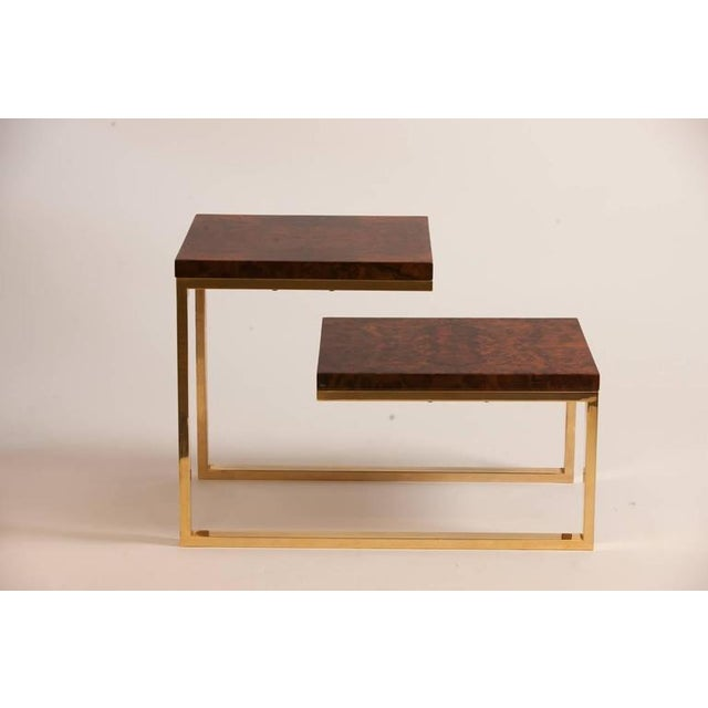 Pair of French Bronze and Lacquered Burled Wood Side Tables - Image 2 of 3