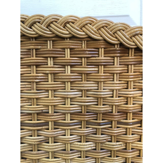 Boho Chic 1960s Vintage Braided Woven Bamboo Wicker Rattan Queen Headboard For Sale - Image 3 of 7