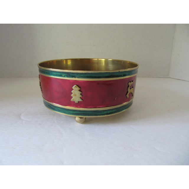 Red & Green Enamel Over Brass Christmas Holiday Wine Coaster For Sale - Image 6 of 6