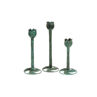 Maitland Smith Green Tulip Tree Candlestick Holders - Set of 3 For Sale