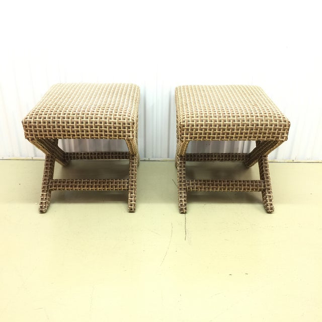 Upholstered X Ottoman Benches - A Pair - Image 5 of 7