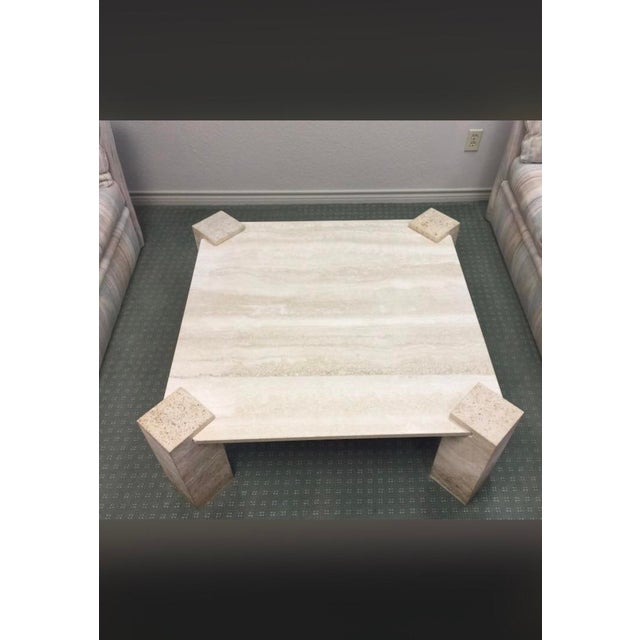 Hollywood Regency 1960s Hollywood Regency Travertine Coffee Table For Sale - Image 3 of 6