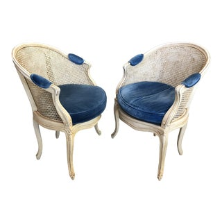 1960s Louis XV Style Barrel Back Caned Bergere Chairs - a Pair For Sale